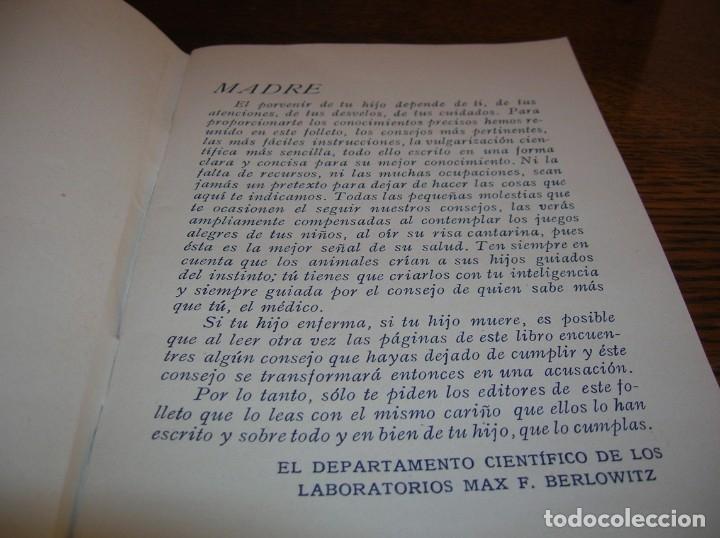 Libros antiguos: Muy interesante librito sobre el cuidado de los niños.Año 1934 - Foto 3 - 176080927