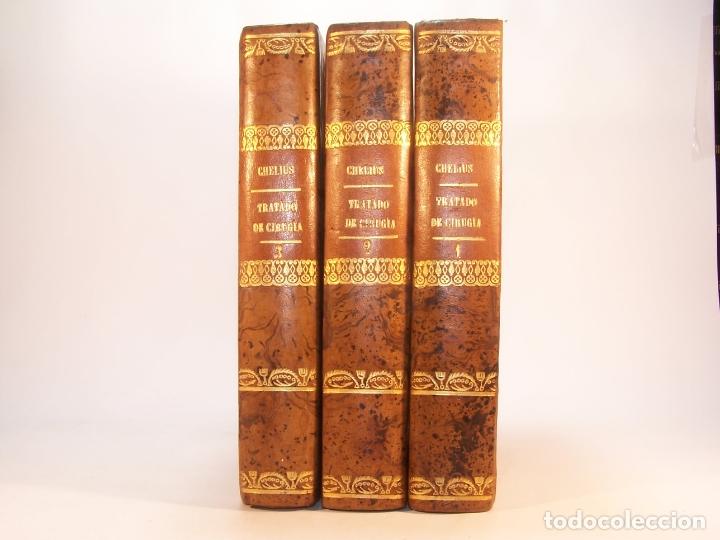 Libros antiguos: Tratado completo de Cirujía. M. J. Chelius. 3 Tomos. Librería Sres. Viuda de Calleja e hijos. 1843. - Foto 2 - 178326731