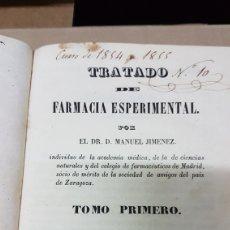 Libros antiguos: TRATADO DE FARMACIA EXPERIMENTAL TOMO I DR. MANUEL JIMENEZ 1840. Lote 179223813