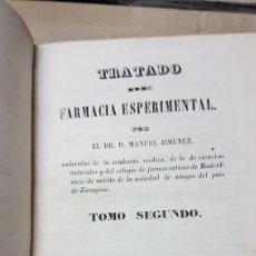 Libros antiguos: TRATADO FARMACIA EXPERIMENTAL SEGUNDO TOMO DR. MANUEL JIMÉNEZ 1840. Lote 179252406