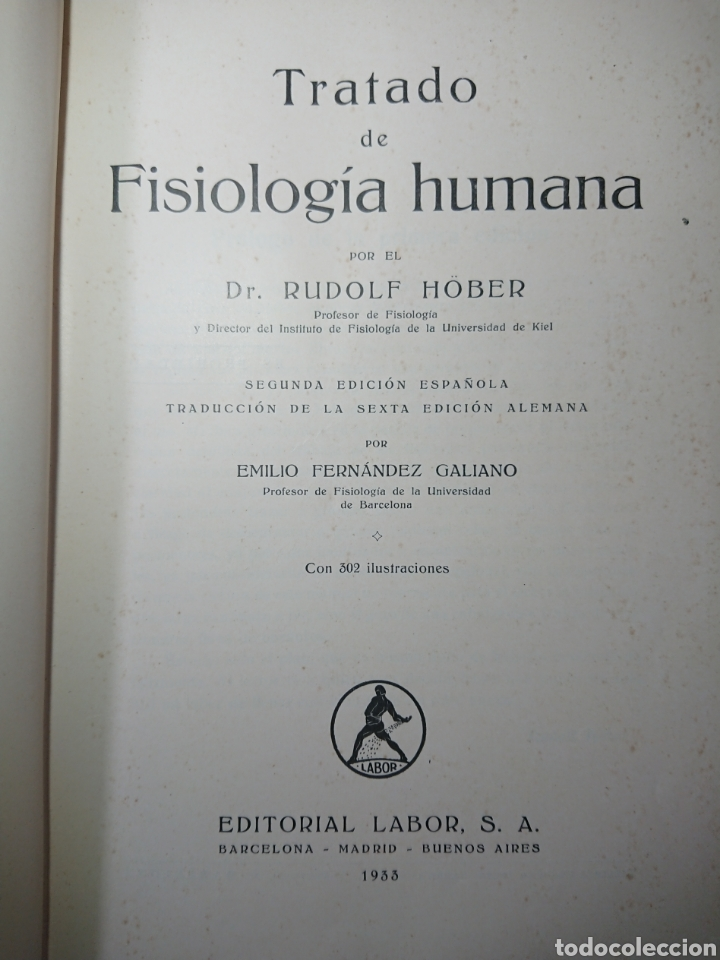 Libros antiguos: Tratado de Fisiología Humana, Rudolf Hober, 1933 - Foto 2 - 179398621
