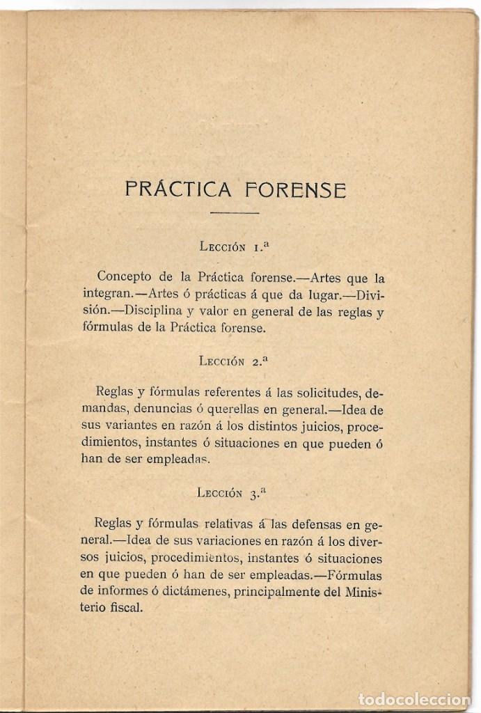 Libros antiguos: PROGRAMA PARA UN CURSO DE PRÁCTICA FORENSE - TOMÁS MONTEJO Y RICA - UNIVERSIDAD CENTRAL, MADRID 1918 - Foto 4 - 180111252
