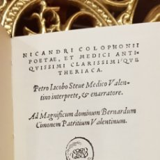 Libros antiguos: THERIACA,NICANDRI COLOPHON. Lote 180453482