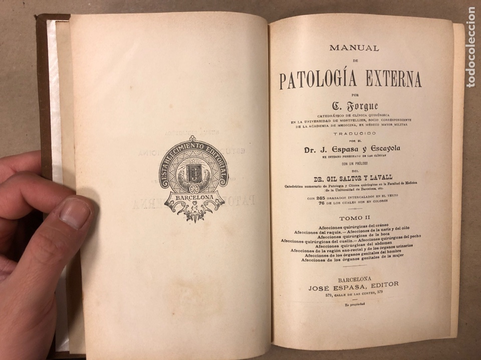 Libros antiguos: MANUAL DE PATOLOGÍA EXTERNA POR E. FORGUE. TOMO II. JOSÉ ESPASA EDITOR. ILUSTRADO. - Foto 2 - 182235775