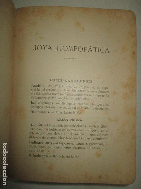Libros antiguos: JOYA HOMEOPÁTICA. MANUAL DE TERAPÉUTICA HOMEOPÁTICA. - COMET y PINART. 1904. - Foto 3 - 123177235