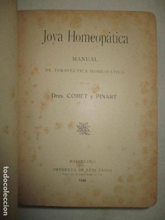 JOYA HOMEOPÁTICA. MANUAL DE TERAPÉUTICA HOMEOPÁTICA. - COMET Y PINART. 1904. (Libros Antiguos, Raros y Curiosos - Ciencias, Manuales y Oficios - Medicina, Farmacia y Salud)