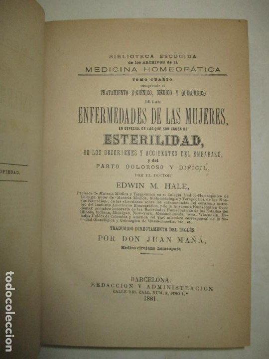 TRATAMIENTO HIGIÉNICO, MÉDICO Y QUIRÚRGICO DE LAS ENFERMEDADES DE LAS MUJERES... HALE, EDWIN M. 1881 (Libros Antiguos, Raros y Curiosos - Ciencias, Manuales y Oficios - Medicina, Farmacia y Salud)
