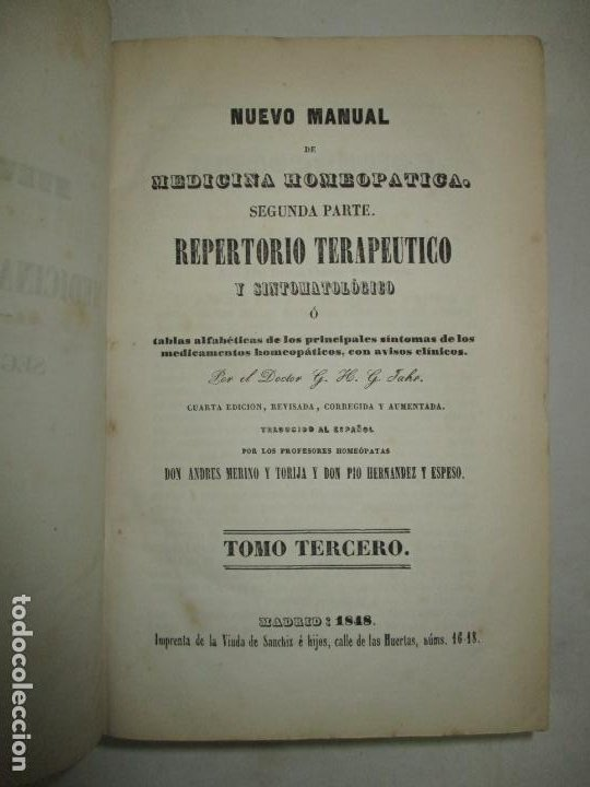 Libros antiguos: NUEVO MANUAL DE MEDICINA HOMEOPATICA. - JAHR, G. H. G. Dr. 1848. - Foto 6 - 123203106