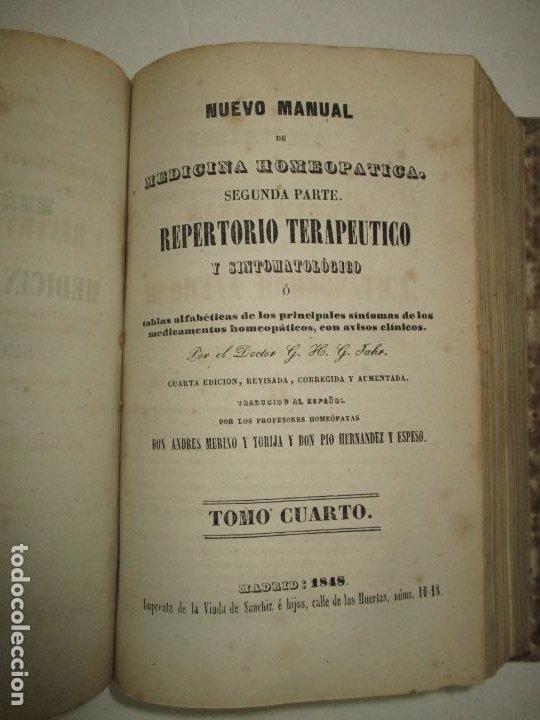 Libros antiguos: NUEVO MANUAL DE MEDICINA HOMEOPATICA. - JAHR, G. H. G. Dr. 1848. - Foto 7 - 123203106