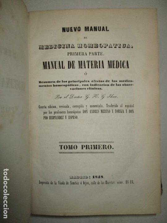 NUEVO MANUAL DE MEDICINA HOMEOPATICA. - JAHR, G. H. G. DR. 1848. (Libros Antiguos, Raros y Curiosos - Ciencias, Manuales y Oficios - Medicina, Farmacia y Salud)
