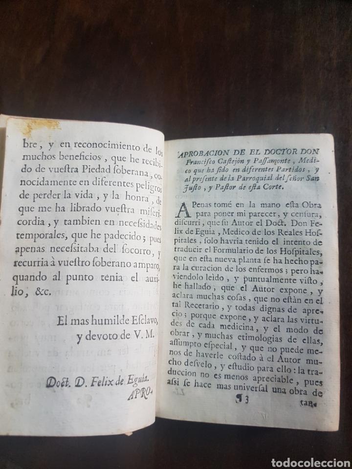 Libros antiguos: Magnífico y único ejemplar a la venta Formulario de medicamentos. Doctor D. Felix de Eguia. Año 1759 - Foto 5 - 188541398