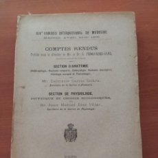 Libros antiguos: CAJAL COMPTES RENDUS ARTÍCULOS ORIGINALES DE CAJAL 1904 XIV CONGRES INTERNATIONAL DE MEDICINE. Lote 189813042