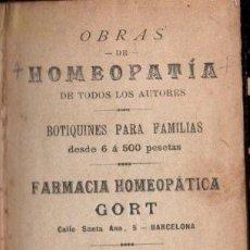 Libros antiguos: HOMEOPATÍA (1887) 297 PÁGINAS - CIENTOS DE RECETAS.. Lote 190049275