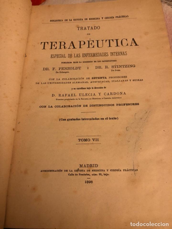 Libros antiguos: Libro tratado de terapéutica 1898 - Foto 2 - 191543000