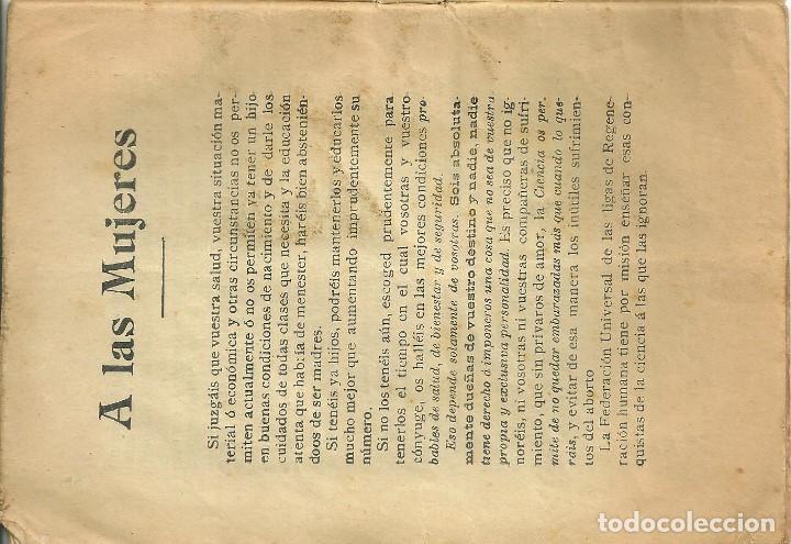 Libros antiguos: 3587.- SEXUALIDAD - ABORTO - HUELGA DE VIENTRES - MEDIOS PRACTICOS PARA EVITAR LA FAMILIA NUMEROSA - Foto 2 - 193115203
