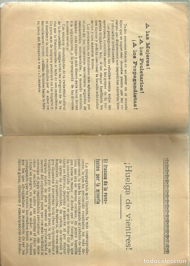 Libros antiguos: 3587.- SEXUALIDAD - ABORTO - HUELGA DE VIENTRES - MEDIOS PRACTICOS PARA EVITAR LA FAMILIA NUMEROSA - Foto 3 - 193115203