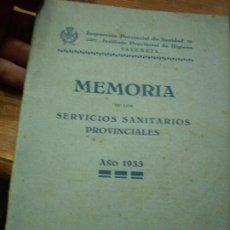 Libros antiguos: MEMORIA DE LOS SERVICIOS SANITARIOS PROVINCIALES (AÑO 1933). L.21095. Lote 194391016