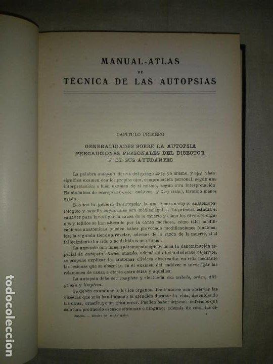 Libros antiguos: MANUAL ATLAS DE TECNICA DE LAS AUTOPSIAS - AÑO 1929 - E.FRANCO - MUY ILUSTRADO. - Foto 3 - 194757387