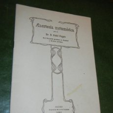 Libros antiguos: ANESTESIA METAMERICA (EPIDURAL), DR D. FIDEL PAGES - SEPARATA REV.ESP.CIRUGIA 1921. Lote 195046536