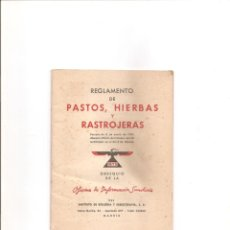 Libros antiguos: 1201. REGLAMENTO DE PASTOS, HIERBAS Y RASTROJERAS. Lote 195109045