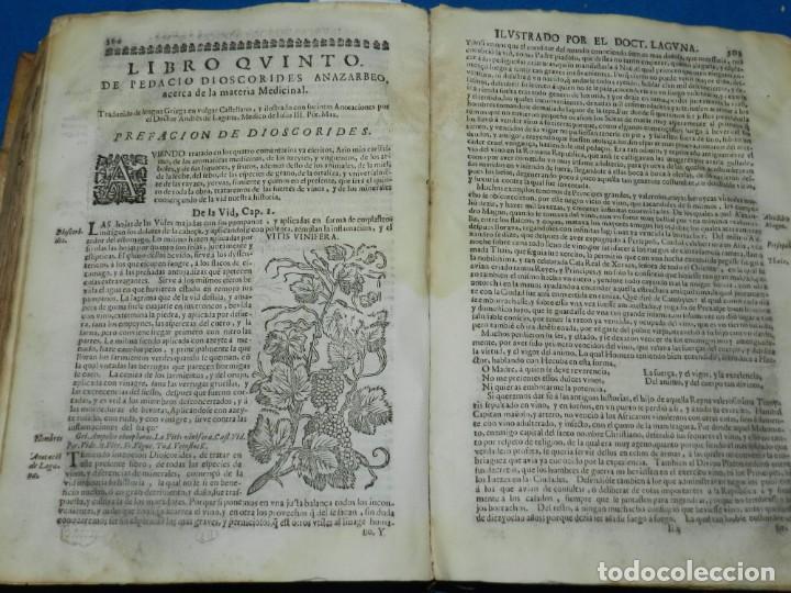 Libros antiguos: ANDRÉS DE LAGUNA - PEDACIO DIOSCORIDES ANAZARBEO ACERCA DE LA MATERIA MEDICINAL Y VENENOS MORTIFEROS - Foto 26 - 195486703