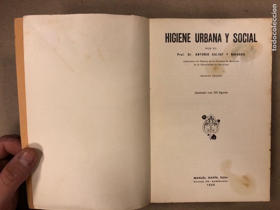Libros antiguos: HIGIENE URBANA Y SOCIAL. DR. A. SALVAT NAVARRO. MANUEL MARÍN EDITOR 1935 (1ªEDICIÓN). ILUSTRADO - Foto 2 - 196058708