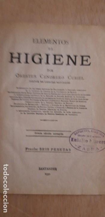 Libros antiguos: 1 LIBRO DE ** ELEMENTOS DE HIGIENE. ** ORESTES CENDRERO CURIEL SANTANDER 1930 - Foto 5 - 197516722
