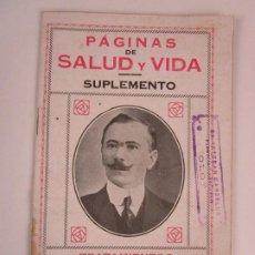 Libros antiguos: PÁGINAS DE SALUD Y VIDA, SUPLEMENTO - SELLO DE ESTEBAN CARDELUS, OLOT - IMP JUAN TEJADA. Lote 198080297