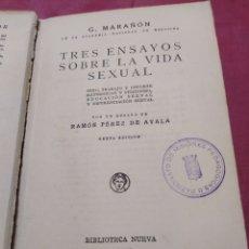 Libros antiguos: G.MARAÑON, RAMÓN PÉREZ DE AYALA , VIDA SEXUAL 1931 CON CUÑO DE REPÚBLICA ESPAÑOLA.. Lote 198328995