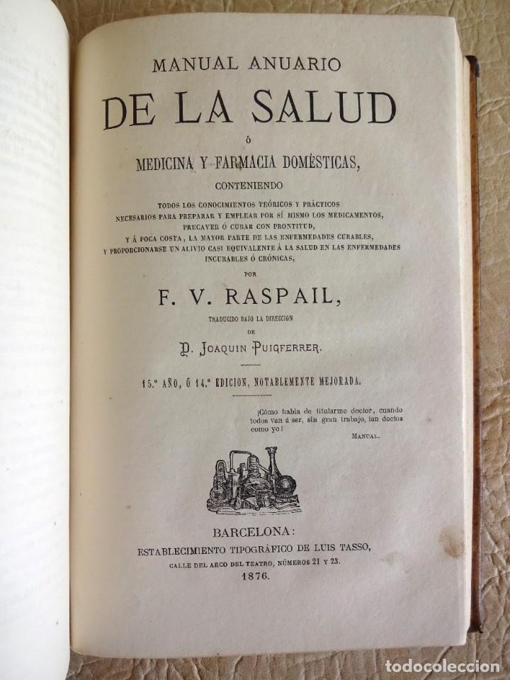 Libros antiguos: libro Biblioteca de Raspail manual de la salud causas y defensas farmacopea año 1877 - Foto 18 - 130233870