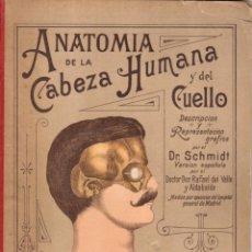Libros antiguos: ANTIGUO LIBRO TROQUELADO DE ANATOMIA DE LA CABEZA Y EL CUELLO. DR.SCHMIDT.. Lote 201941642