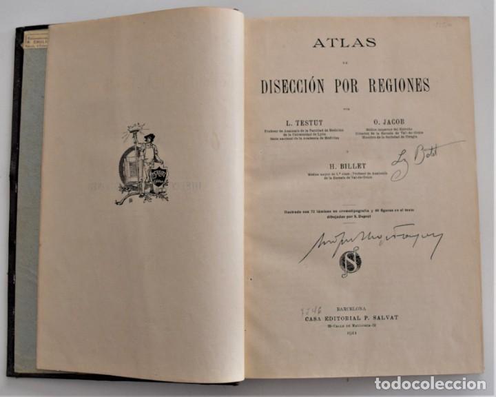 Libros antiguos: ATLAS DE DISECCIÓN POR REGIONES - TESTUT, JACOB Y BILLET - CASA EDITORIAL P. SALVAT 1921 - Foto 4 - 202398743