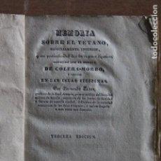 Libros antiguos: MEMORIA SOBRE EL TETANO AÑO 1832. Lote 203507665