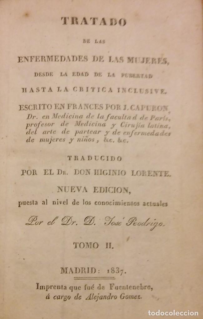 TRATADO DE LAS ENFERMEDADES DE LA MUJERES, CAPURON, MADRID, 1837, TOMO 2 (Libros Antiguos, Raros y Curiosos - Ciencias, Manuales y Oficios - Medicina, Farmacia y Salud)