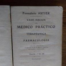 Libros antiguos: VADE-MECUM DEL MÉDICO PRÁCTICO. TERAPEUTICO Y FARMACOLOGIA. 1911, 685 PAGINAS, ASTIER. Lote 208036355