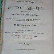 Libros antiguos: NUEVO MANUAL DE MEDICINA HOMEOPÁTICA - DR G.H.G. JAHR - TOMO I - LIBRERÍA C.BAILLY-BAILLIERE - 1876. Lote 208213613