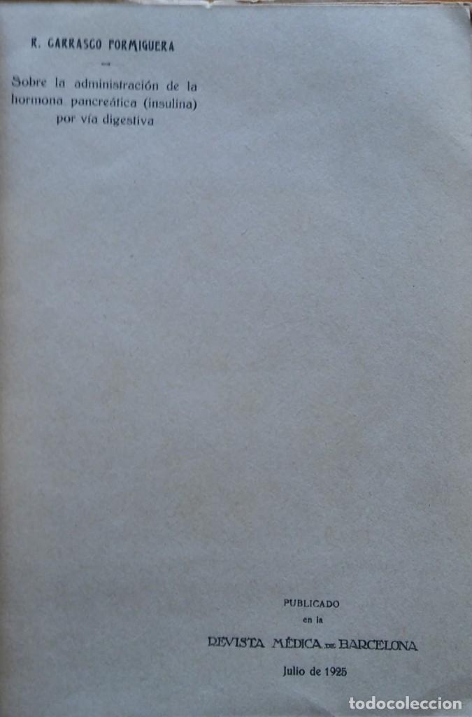 Libros antiguos: Recull de treballs - R. Carrasco Formiguera. 1925. Volumen facticio con 4 artículos sobre diabetes - Foto 2 - 208395606