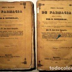 Libros antiguos: SOUBEIRAN, E. - NUEVO TRATADO DE FARMACIA (4 VOL. - 2 TOMOS - COMPLETO). - BARCELONA 1845. Lote 208658121