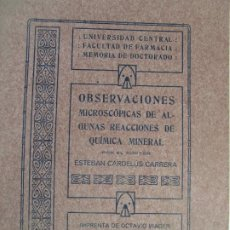 Libros antiguos: OBSERVACIONES MICROCÓPIAS DE ALGUNAS REACCIONES DE QUÍMICA MINERAL - E. CARDELUS - AÑO 1913. Lote 209120416