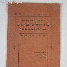 Libros antiguos: NOTAS DE PUERICULTURA A LA COMARCA DEL EMPORDÁ - E. BUDO - COLEGIO DE MÉDICOS DE GIRONA - AÑO 1911. Lote 209121252