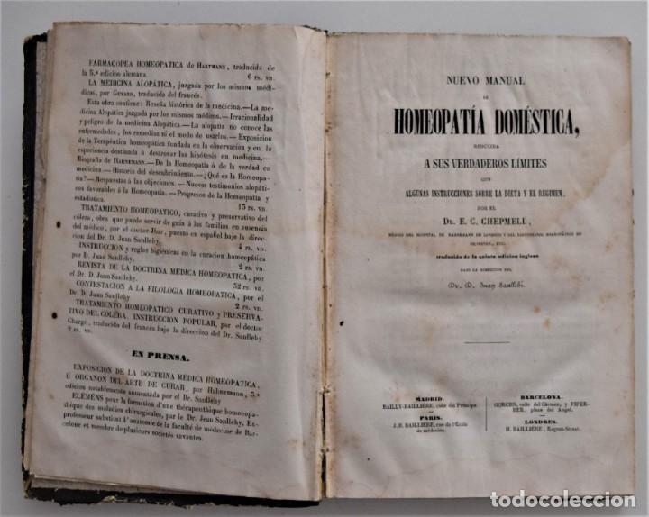 Libros antiguos: NUEVO MANUAL DE HOMEOPATÍA DOMÉSTICA, POR CHEPMELL + GUÍA DEL HOMEÓPATA POR RUOFF AÑO 1846 - Foto 4 - 210206875