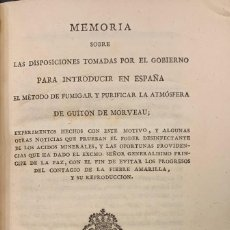 Libros antiguos: MEMORIA SOBRE LAS DISPOSICIONES......MÉTODO DE FUMIGAR Y PURIFICAR LA ATMOSFERA. GUITON DE MORVEAU. Lote 210833710