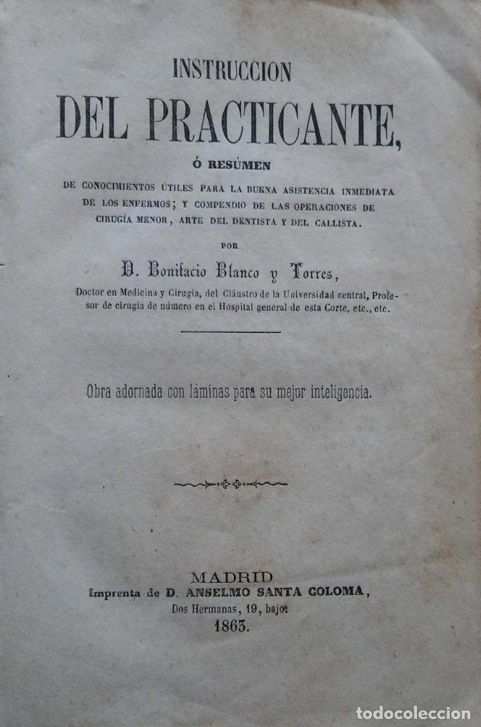 Libros antiguos: Instrucción del practicante. Madrid, 1863. 9 bonitas láminas litografiadas - Foto 2 - 211510994