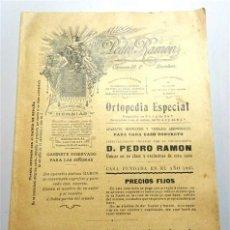 Libros antiguos: PEDRO RAMÓN, ORTOPEDIA ESPECIAL : ESPECIALIDADES EXCLUSIVAS DE D. PEDRO RAMÓN. 1905. TIP. LA ACADÉMI. Lote 256014855