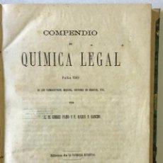 Libros antiguos: COMPENDIO DE QUÍMICA LEGAL PARA USO DE LOS FARMACEUTICOS, MEDICOS, DOCTORES EN CIENCIAS, ETC. - GÓME. Lote 123195852