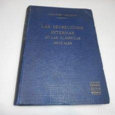 Libros antiguos: ALEXANDER LIPSCHUÜTZ LAS SECRECIONES INTERNAS DE LAS GLÁNDULAS SEXUALES Q2142T. Lote 213763496
