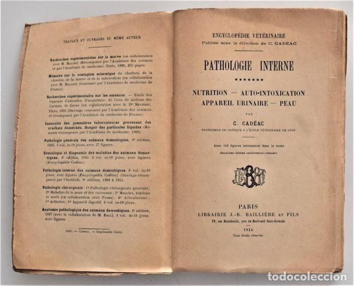Libros antiguos: LOTE 4 TOMOS ENCICLOPEDIA CADÉAC DE VETERINARIA EDICIÓN FRANCESA AÑOS 1904 A 1914 - Foto 10 - 213962628