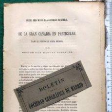 Libros antiguos: LAS ISLAS CANARIAS BAJO EL PUNTO DE VISTA MÉDICO. 1880. Lote 214298038