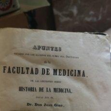 Libros antiguos: LIBRO DE FACULTAD DE MEDICINA HISTORIA DE LA MEDICINA DON JUAN GINE. Lote 214623472