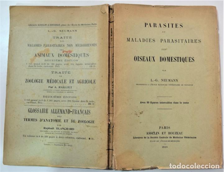 Libros antiguos: PARÁSITOS Y ENFERMEDADES PARASITARIAS DE LOS ANIMALES DOMÉTICOS - NEUMANN - EN FRANCÉS - PARÍS 1909 - Foto 2 - 214992925
